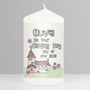 Personalised Church Candle Pink or Blue