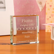 Engraved Jade Glass Block with Baby Name Meaning