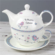 Floral Birds Personalised Tea For One China Teapot & Cup Set
