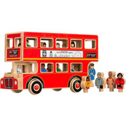 Lanka Kade Fair Trade Wooden Red London Bus Toy With Figures