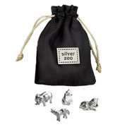 Silver Zoo Charms in a Pouch by Tales From The Earth