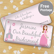 Personalised Bridesmaid Chocolate Bar Free Delivery