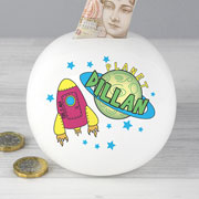 Personalised Children's China Space Money Box