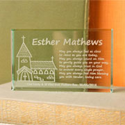 Engraved First Communion Jade Block Church Design