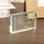 Engraved First Communion Jade Block Angels Design