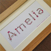 Framed Illustrated Name Print Christening New Baby