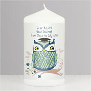 Personalised Owl Teacher Candle Mr or Mrs