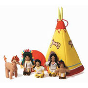 Fabric Teepee and Indians by Oskar and Ellen