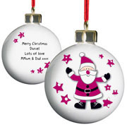 Starry Santa Personalised Christmas Tree Bauble