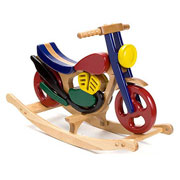 Colourful Wooden Rocking Motorbike Toy Painted Beech