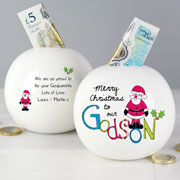 Exclusive Godson Personalised Christmas China Money Box