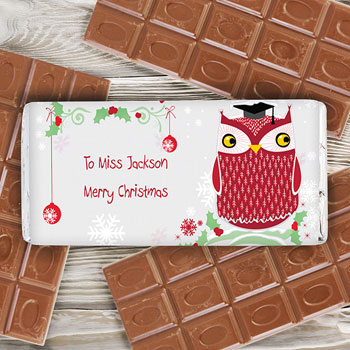 Christmas Owl Teacher Personalised Chocolate Bar