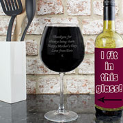 Personalised Whole Bottle of Wine Glass