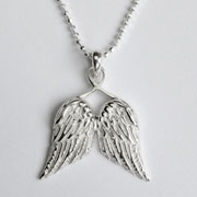 Little Guardian Angel Wings Silver Christening Necklace