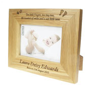 Solid Oak Engraved New Baby Photo Frame