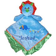 Personalised Embroidered Blue Dinosaur Baby Comforter Doudou
