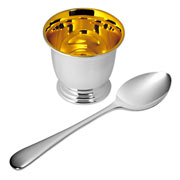 Silver Plated Egg Cup and Spoon by Carrs