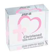 Personalised Crystal Block with Heart and Cross