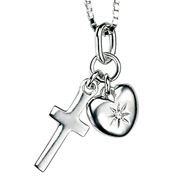 Heart and Cross Pendant by D for Diamond