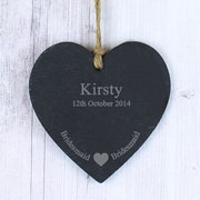 Bridesmaid Slate Heart Decoration