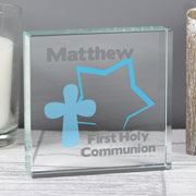 Personalised Boy's Crystal Block With Star & Cross Design
