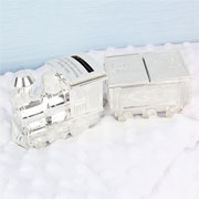 Engraved Silver Plated Train Money Box with Tooth & Curl Pot