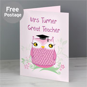 Personalised Owl Teacher Card - Free Delivery
