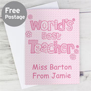 World's Best Teacher Card - Free Delivery