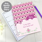 Personalised Owl Teacher Diary Pink or Green