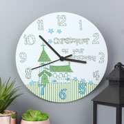 Wooden Personalised Christening Clock Church Design For Boy