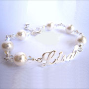 Silver and Pearls Personalised Name Bracelet