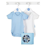 Baby Boy's Blue Boxed Cupcake Bodysuits Clothing Gift Set