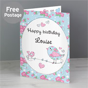 Personalised Floral Birds Card - Free Delivery