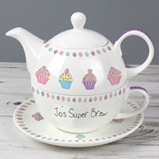 Personalised Cupcake Tea For One China Teapot & Cup Set