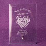 Engraved Mothers Day Glass Plaque