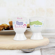 Hugs Kisses Springtime Wishes Personalised China Egg Cup