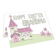 Personalised Whimsical Church Easter Card - Free Delivery