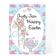 Easter Bird and Chick Personalised Easter Card