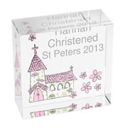Personalised Pink Church Crystal Block For Girls