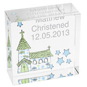 Personalised Blue Church Crystal Block For Boys