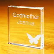Personalised Godmother Small Crystal Block