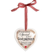 Special Godparent Wooden Heart Shaped Decoration