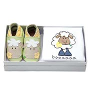 Inch Blue Sheep Baby Shoes Gift Set (0-6 Months)