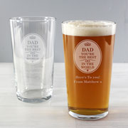 The Best Dad/Daddy/Grandad/Godfather in the World Pint Glass