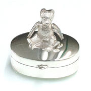 Sterling Silver Tooth Fairy Box with Teddy