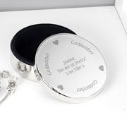 Silver Plated Engraved Godmother Personalised Trinket Pot