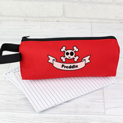 Red Skull & Cross Bones Personalised Pencil Case