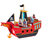 Fair Trade Wooden Pirate Ship by Lanka Kade