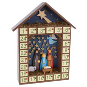 Wooden Nativity Advent With Stars