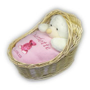 Personalised Baby Gift Set in Wicker Crib Pink